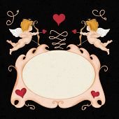 picture of cupid  - Valentine Poster with cupids and frame with text space - JPG