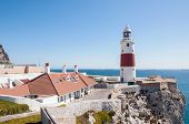 foto of gibraltar  - Europa Point Lighthouse on a shore of Gibraltar - JPG