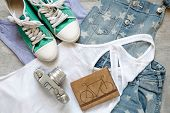 stock photo of outfits  - Overhead of essentials of a modern woman - JPG