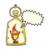 pic of spooky  - cartoon spooky lantern with speech bubble - JPG