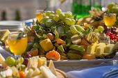picture of banquet  - Festive wedding banquet on a sunny terrace - JPG