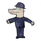 stock photo of werewolf  - cartoon smartly dressed werewolf - JPG
