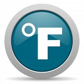 picture of fahrenheit thermometer  - fahrenheit blue glossy web icon - JPG