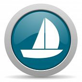 stock photo of yachts  - yacht blue glossy web icon