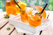 pic of refreshing  - Refreshing lemonade with oranges and mint on wooden table - JPG