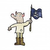 stock photo of pirate flag  - cartoon wolf man waving pirate flag - JPG