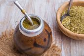 picture of gaucho  - Yerba mate on a white wooden table - JPG