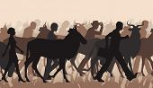 picture of herd  - EPS8 editable vector cutout illustration of a mixed herd of wildebeest and people commuting or migrating - JPG