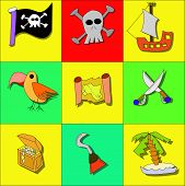 stock photo of pirate sword  - Illustration of pirate symbols with skull ship treasure flag parrot and swords - JPG