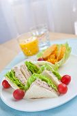 pic of tomato sandwich  - Delicious tuna sandwich with lettuce and tomatoes - JPG