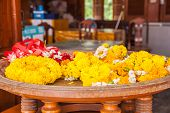 pic of marigold  - Close up Garlands of marigolds for religious ceremonies - JPG