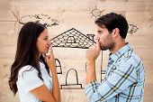 image of stripping women window  - Upset young couple not talking against bleached wooden planks background - JPG