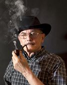 pic of hillbilly  - Cowboy in hat with Pipe  - JPG