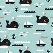 stock photo of life-boat  - Seamless kids whale ocean life and sailing boat waves illustration blue background pattern in vector - JPG