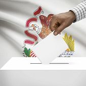 picture of illinois  - Ballot box with US state flag on background  - JPG