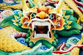 picture of south east asia  - Typical auspicious dragon status in chinese temple that brings good luck - JPG