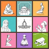 stock photo of namaz  - Set of various Islamic elements for holy month of Muslim community - JPG