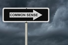 image of senses  - The way to Common Sense Black and white street sign with word Common Sense with stormy sky background - JPG