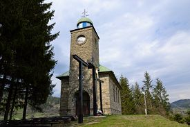 pic of calvary  - church with Calvary on a hill on the outskirts of pilgrims bringing peace and well - JPG