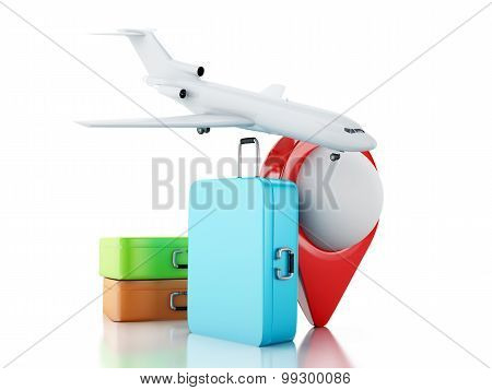 3D Travel Suitcase, Airplane And Map Pointer.