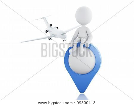 3D White People Tourist With Map Pointer.