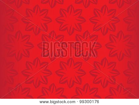 Bright Red Floral Repeat Pattern Seamless Vector Background Design