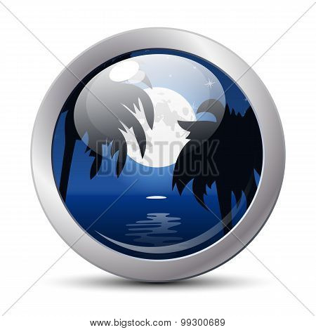 Tropical Night Icon. Vector