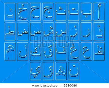 Blue Arabic Alphabet