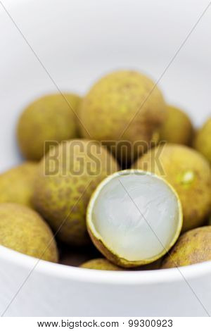 Fresh Longan Fruit In White Blow