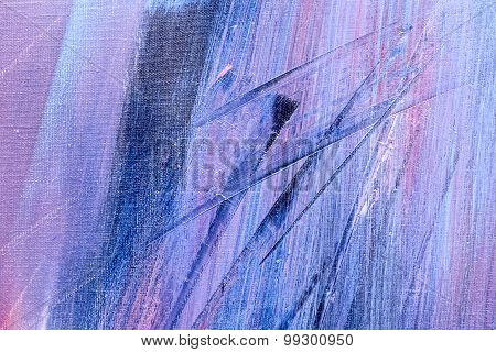 Abstract Colorful Brush Strokes On Canvas