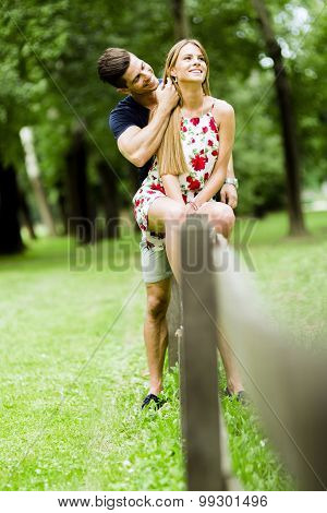 Happy Couple Loving Each Other Outdoors