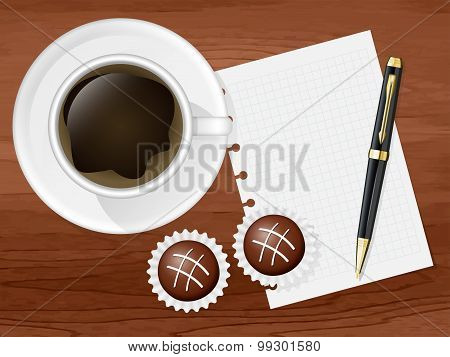 Cup Of Coffee, Two Chocolates And Sheet With Space For Your Text. Vector