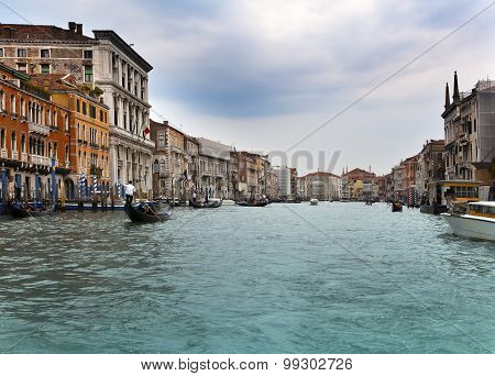 Canal Grande with boats Venice  in a sunny day