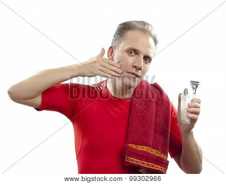 The mature man uses balm after shaving