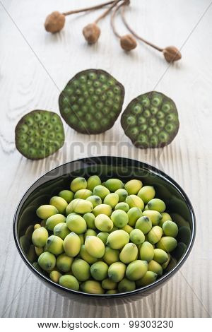 Young Lotus Seeds In Black Bowl, Eaten As Snack In Local Thailand