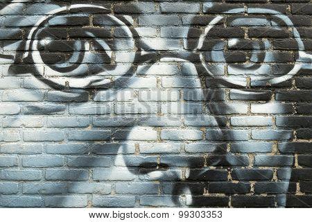 Netherlands - Leiden - Media July 2015: Graffiti On A Wall With A Portrait Of Franz Schubert.