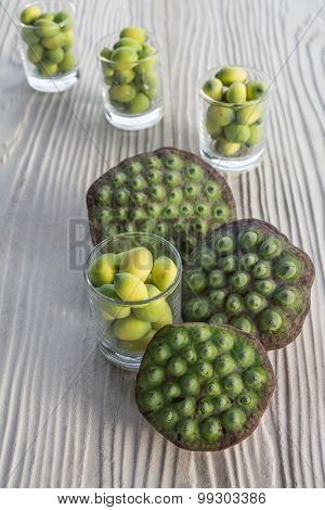 Lotus Seeds In Glassware, Local Thai Snack