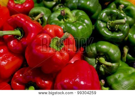 Colorful Bell Peppers With Green And Red Colors, Natural Background