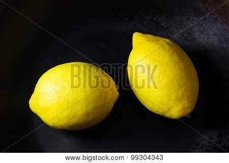 Fresh Lemons In Frying Pan