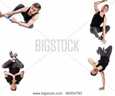 Multiple image of young man break dancing