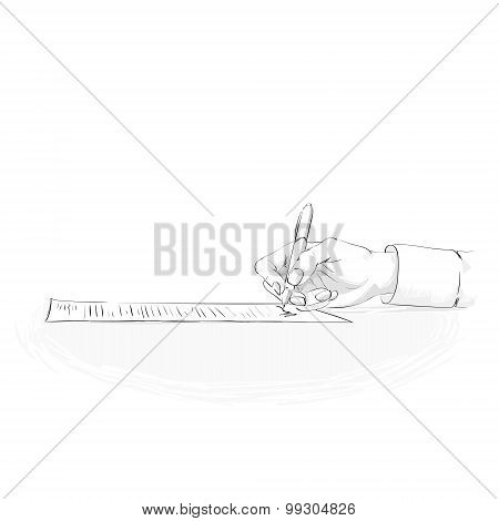 Business Man Hand Hold Pen Write Sign Up Contract Paper Document Sketch Isolated Over White Backgrou