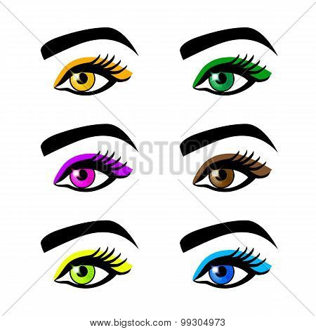 Collection  Female Eyes And Eyebrows Of  Shapes, Different Colors, With  Without Makeup
