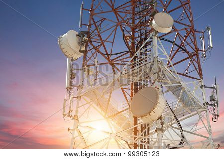 Satellite Dish Telecom Tower At Sunset