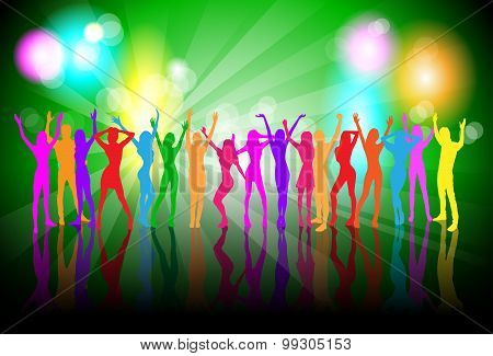 Dancing Colorful People Silhouettes Girls Dance Banner
