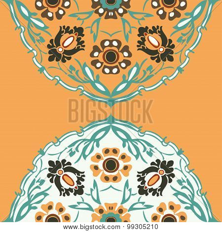 Colorful Round Floral Border Corner Abstract Background Vector