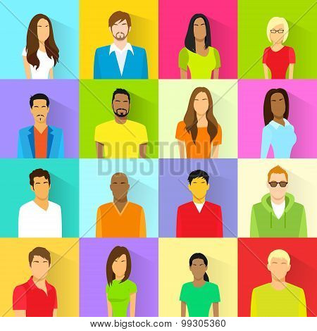 Profile Set Icon Avatar Mix Race Ethnic Man and Woman Portrait Casual Person Colorful Silhouette Fac