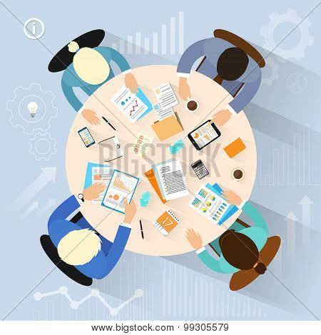 Business People Workplace Top Angle Above View Sitting At Office Desk Work Vector