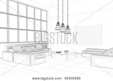 CAD planning ogf loft living room with wireframe mesh (3D Rendering)