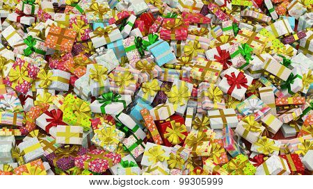 Background with many different colorful gifts for christmas