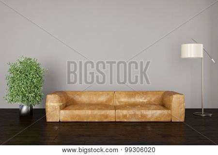 Interior with sofa and a lamp in front of a wall in the living room (3D Rendering)